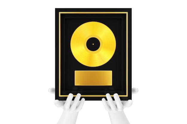 Manos de maniquí abstracto con vinilo dorado o premio cd con etiqueta en marco negro sobre un fondo blanco. representación 3d