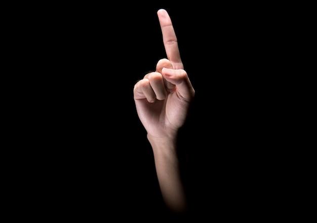Manos masculinas con gesto de señalar o signo de un dedo