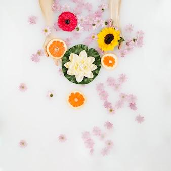 Manos mojadas de la mujer con flores y rodajas de pomelo en baño de spa con leche
