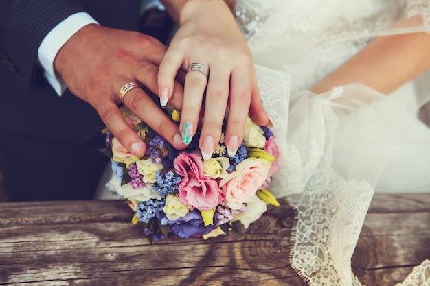 Manos de novios con anillos de boda
