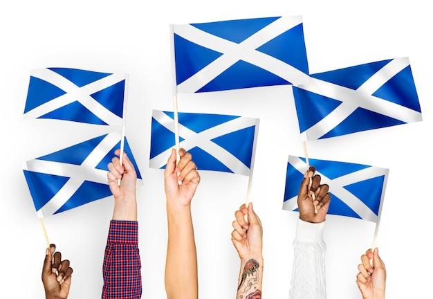 Manos ondeando banderas de escocia