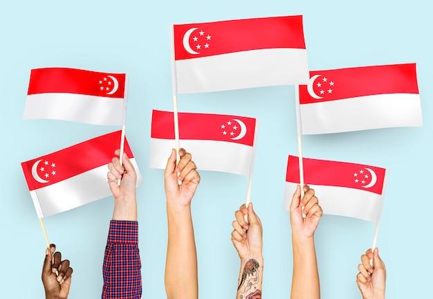 Manos ondeando banderas de singapur