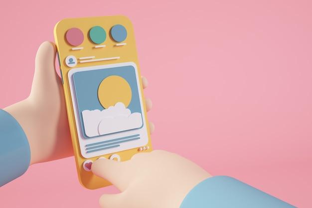 Manos con representación 3d de teléfono de redes sociales