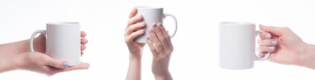 Manos sosteniendo la taza