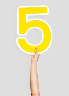 Manos sosteniendo el numero 5