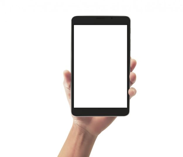 Manos sosteniendo tablet táctil gadget de computadora con pantalla aislada