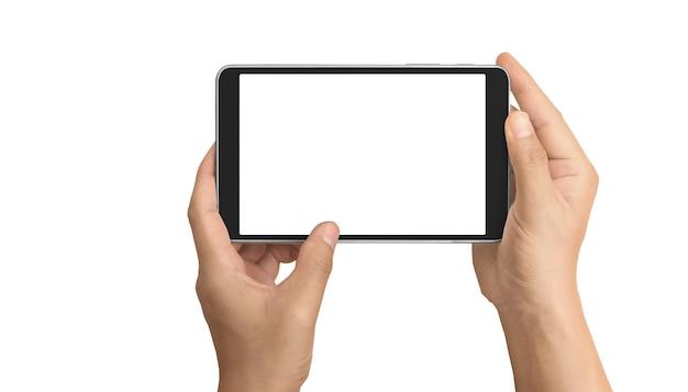 Manos sosteniendo tableta táctil gadget de computadora con pantalla aislada