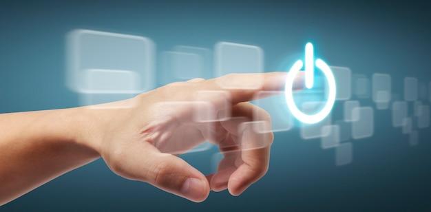 Manos tocando el botón interfaz de pantalla conexión global intercambio de datos de redes de clientes