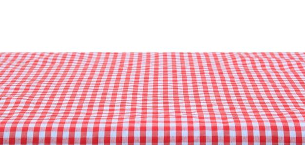 Mantel a cuadros clásico rojo sobre fondo blanco.