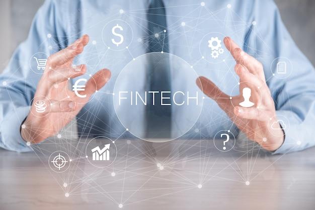 Mantenga fintech -concepto de tecnología financiera.pago de banca de inversión empresarial. criptomoneda