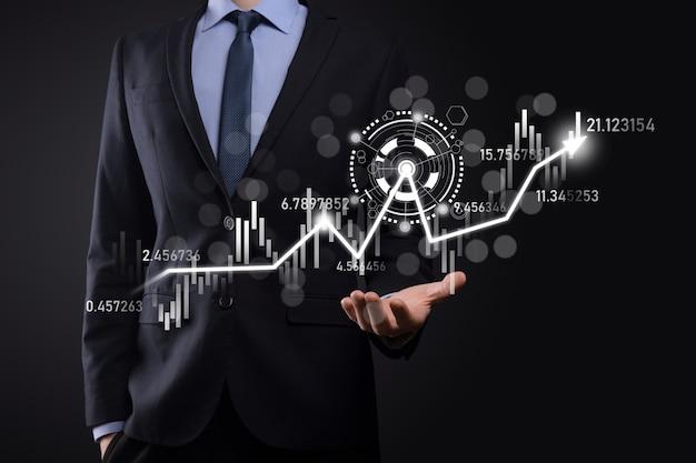 Mantenga a mano los datos de ventas y el gráfico de crecimiento económico. planificación y estrategia empresarial. analizando el trading de intercambio. financiero y bancario. tecnología de marketing digital plan de ganancias y crecimiento.