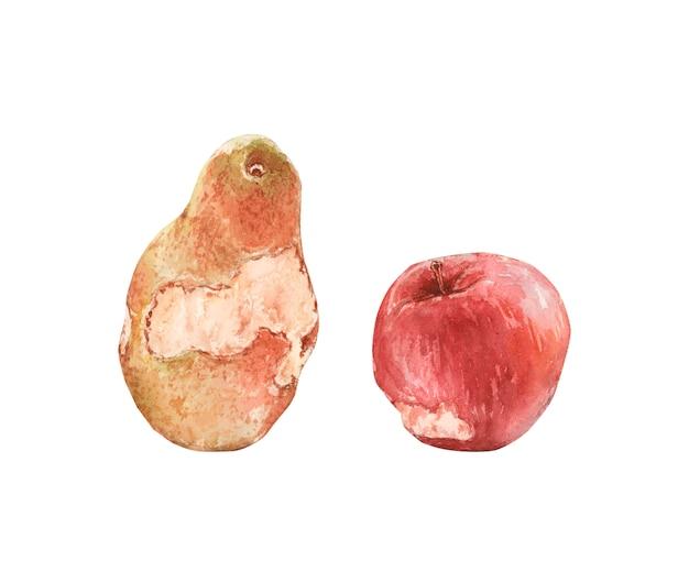Manzana roja y pera amarilla mordida