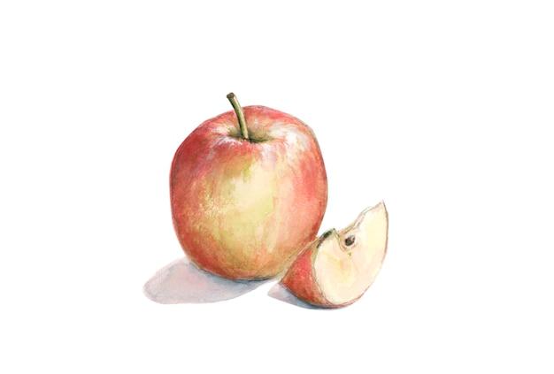 Manzana roja con una rodaja