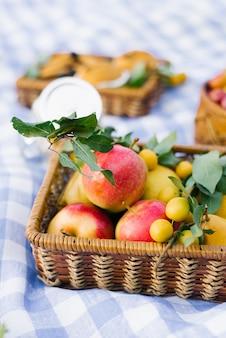Manzanas y ciruelas en una cesta de mimbre sobre un mantel a cuadros azul blanco en un picnic de verano