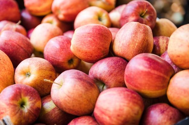 Manzanas rojas orgánicas frescas del mercado local de agricultores.