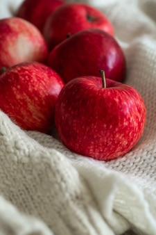 Manzanas rojas en suéteres blancos de punto. escena hogareña acogedora y tranquila. cosecha, cosecha, cosecha. concepto otoño