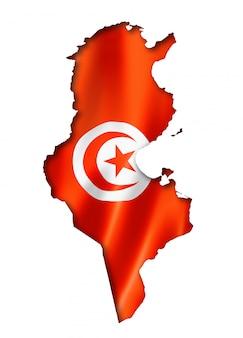 Mapa de la bandera de túnez