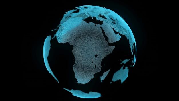Mapa digital de movimiento de tierra zoom en concepto de negocio spin planet paisaje