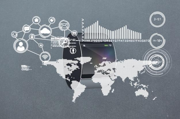 Mapa e información estadística con smartwatch de fondo
