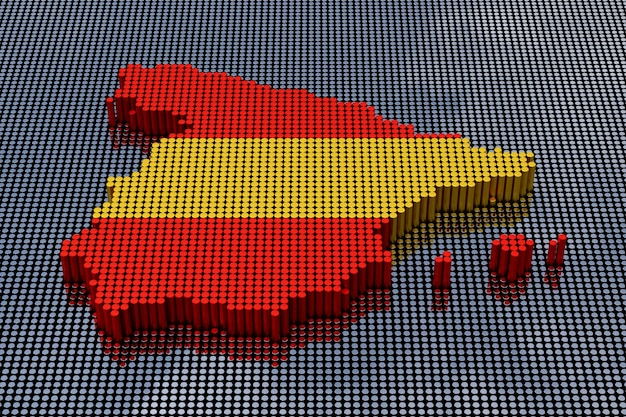 Mapa de españa del estilo del arte del pixel con colores de la bandera de españa. representación 3d