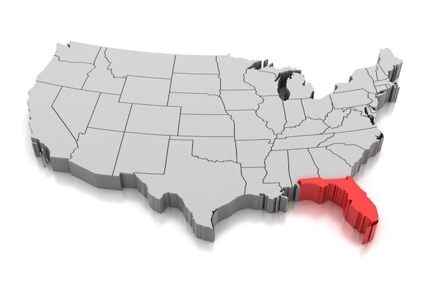 Mapa Del Estado De Florida Estados Unidos Foto Premium