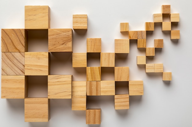 Mapa de estados unidos hecho de cubos de madera