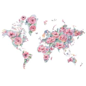 Mapa floral de acuarela