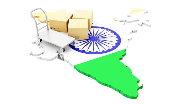 Mapa de india 3d con cajas de cartón y carro de mano.