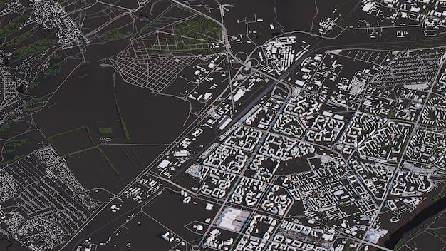 Mapa de krasnoyarsk en caminos y edificios de paisajes isométricos 3d
