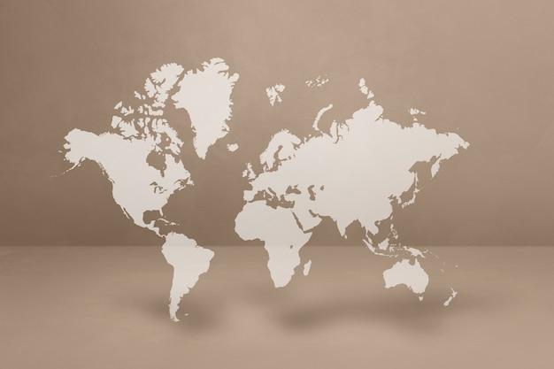 Mapa del mundo aislado sobre fondo de pared beige. ilustración 3d