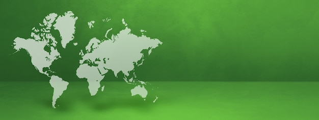 Mapa del mundo aislado sobre fondo de pared verde. representación 3d