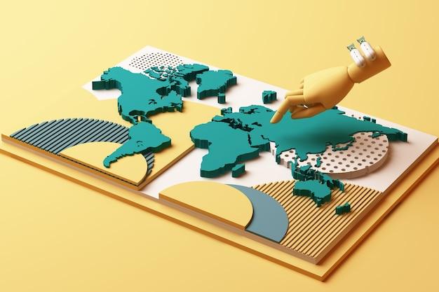 Mapa del mundo con la mano humana y la composición abstracta del concepto de bomba de plataformas de formas geométricas en tono amarillo y verde. representación 3d