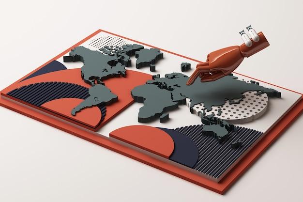 Mapa del mundo con la mano humana y la composición abstracta del concepto de bomba de plataformas de formas geométricas en tono naranja y azul. representación 3d