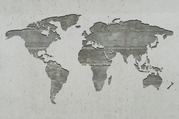 Mapa del mundo sobre hormigón armado.