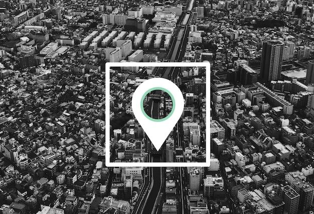 Mapa pin ubicación dirección posición gráfico
