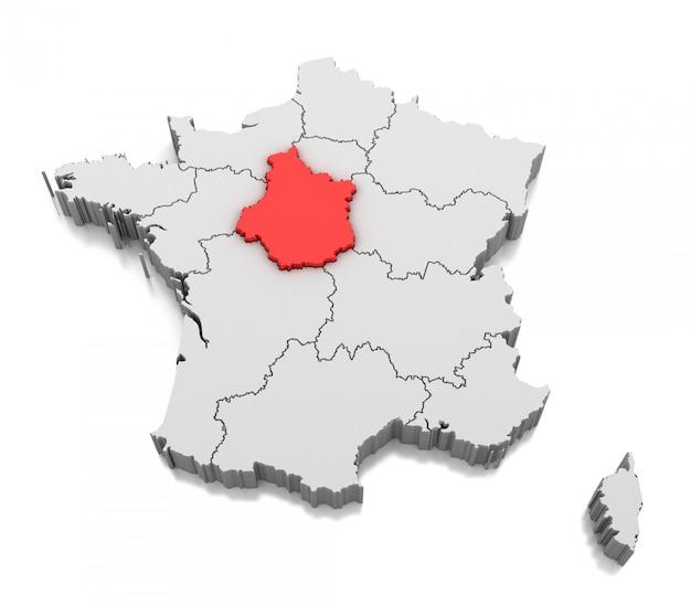 Mapa de la región centro-val de loire, francia