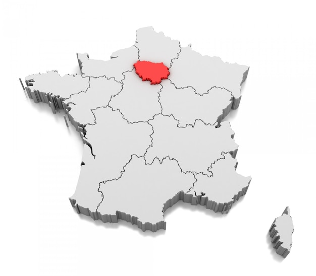 Mapa de la región de île-de-france, francia