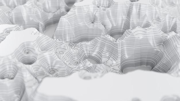 Mapa topográfico abstracto blanco y negro con líneas de contorno negras en un mapa