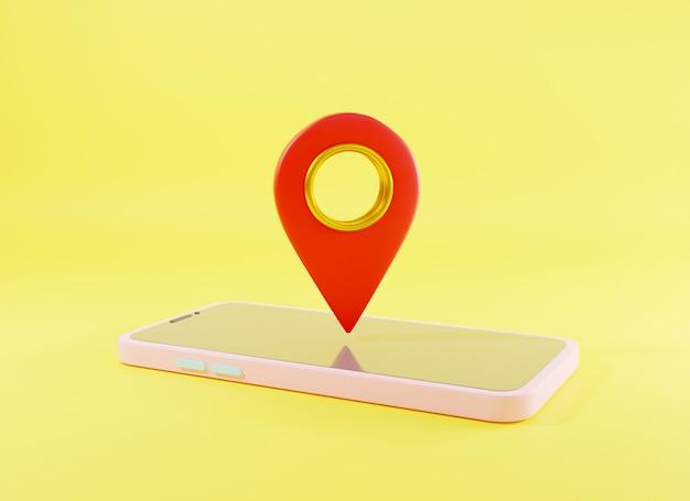 Mapa de ubicación de símbolo de ubicación de estilo de diseño de icono moderno en la pantalla del teléfono inteligente representación 3d