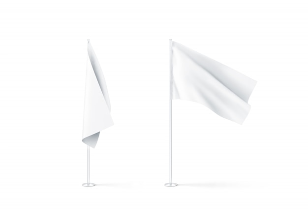 Maqueta de banderas blancas en blanco