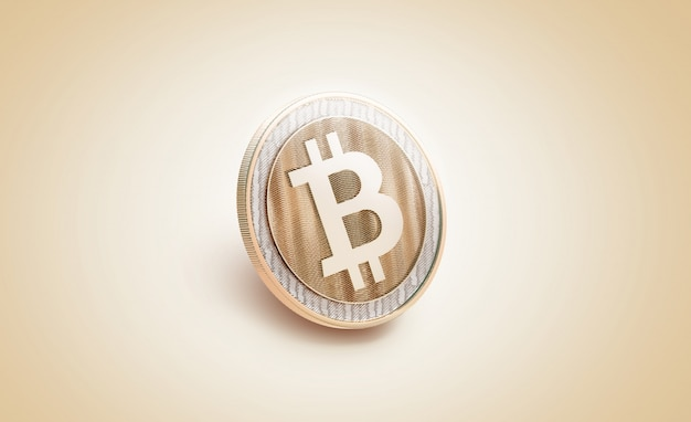 Maqueta de bitcoin brillante en blanco dorado,