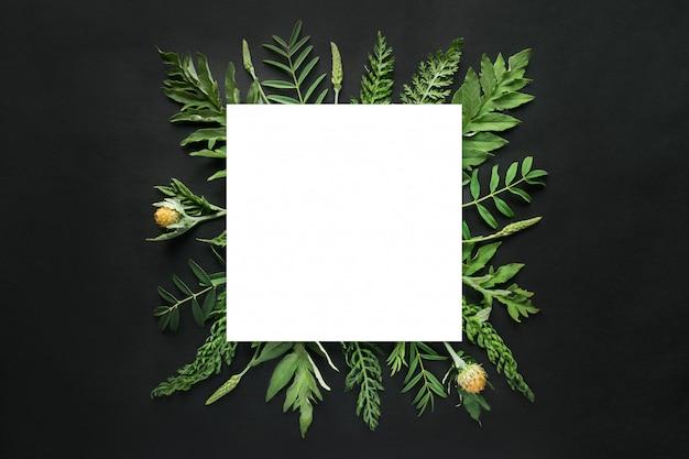 Maqueta blanca cuadrada en marco de hojas verdes.
