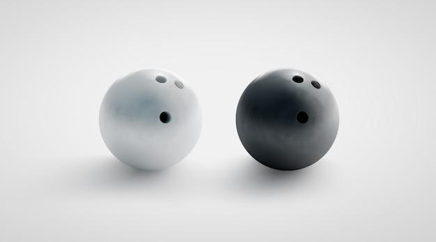 Maqueta de bolas de boliche en blanco y negro