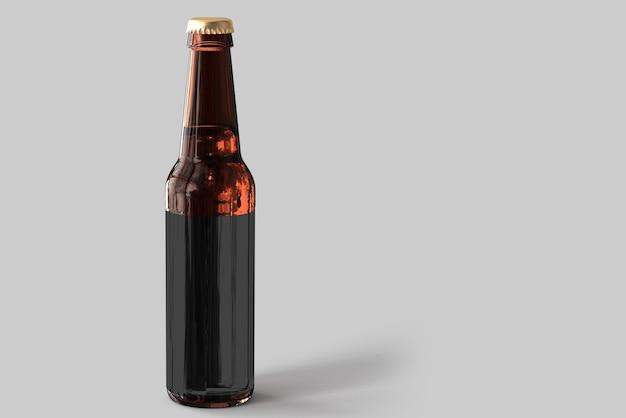 Maqueta de botella de cerveza con etiqueta en blanco sobre fondo blanco. concepto de oktoberfest.