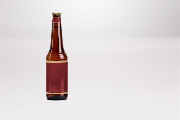 Maqueta de botella de cerveza marrón aislado en blanco - etiqueta en blanco