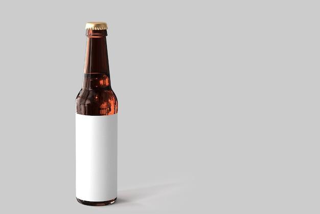 Maqueta de botella de cerveza con vaso de cerveza pale ale y espuma. etiqueta en blanco sobre fondo blanco