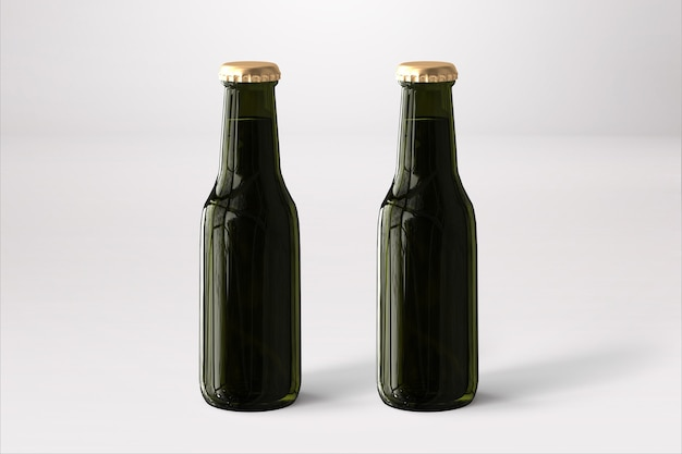 Maqueta de botellas de cerveza con etiqueta en blanco sobre fondo blanco. concepto de oktoberfest.