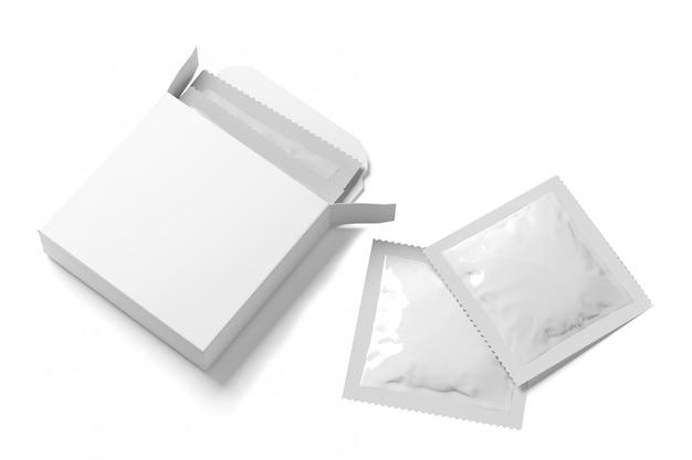 Maqueta de caja abierta del condón - 3d rendering