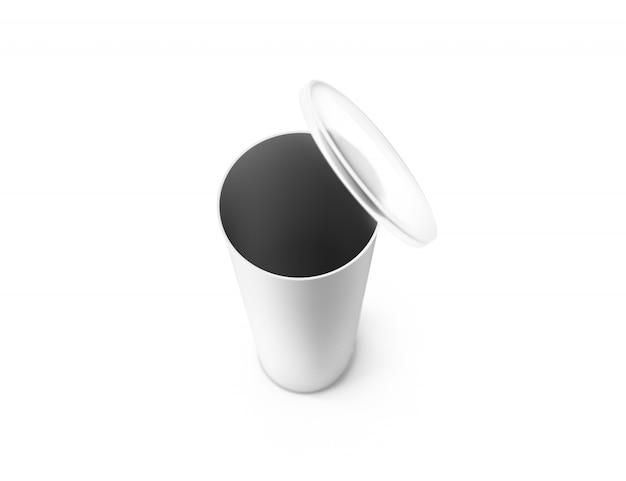 Maqueta de caja de cilindro de caja abierta de blanco en blanco, vista superior