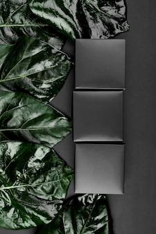Maqueta para caja de regalo negra un fondo oscuro con hojas verdes a los lados, plano, concepto de naturaleza, espacio para texto, vista superior.